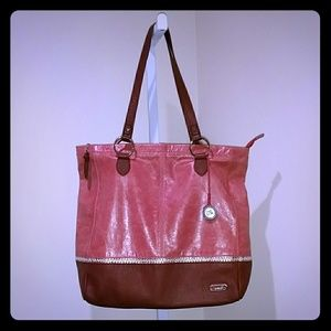 THE SAK LARGE TWO TONE LEATHER TOTE